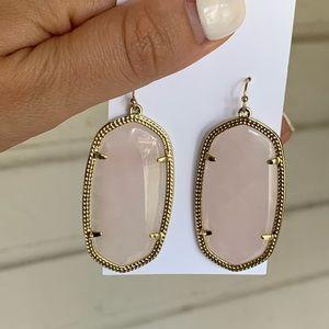Kendra Scott Jewelry - Elle Gold Drop Earrings in Rose Quartz
